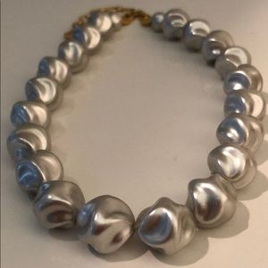 VINTAGE SILVER UNUSUAL SHAPED PEARL NECKLACE